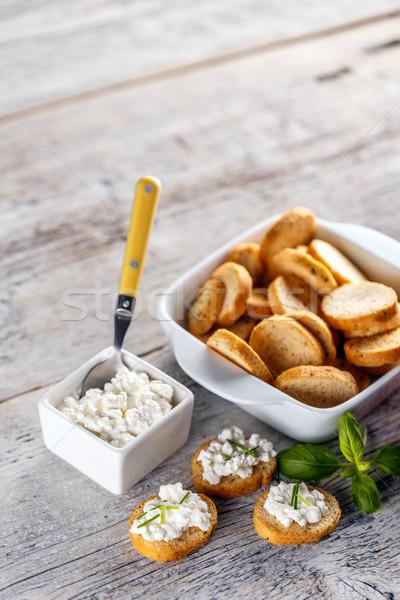 Bruschetta sandwich with cottage cheese Stock photo © grafvision