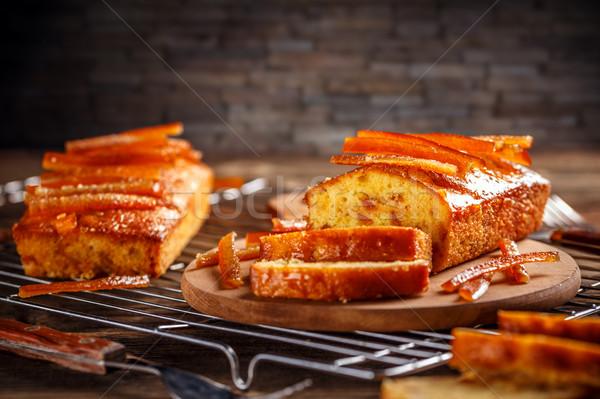 ケーキ 砂糖漬けの オレンジ 木製 まな板 木材 ストックフォト © grafvision