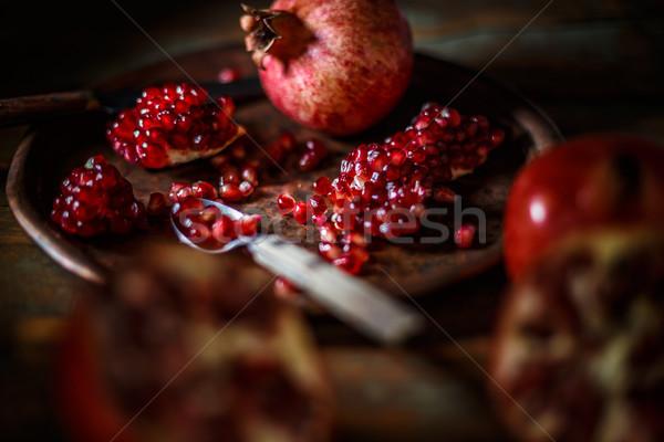 Rosso succo melograno vintage tavola tropicali Foto d'archivio © grafvision