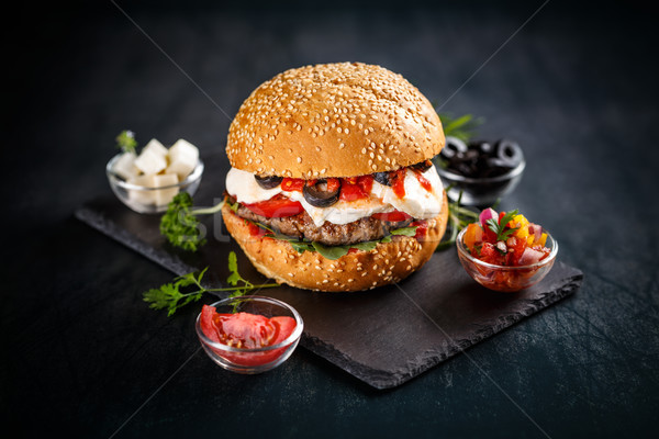 Burger with beef patty Stock photo © grafvision