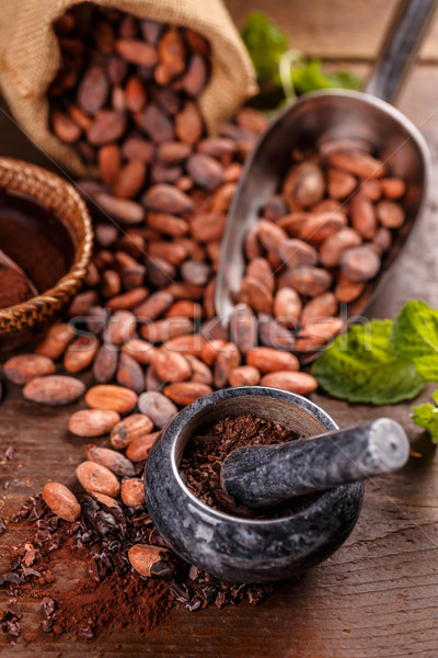 Foto stock: Terreno · chocolate · vintage · semente · feijões