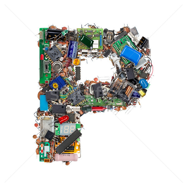Letter P made of electronic components Stock photo © grafvision