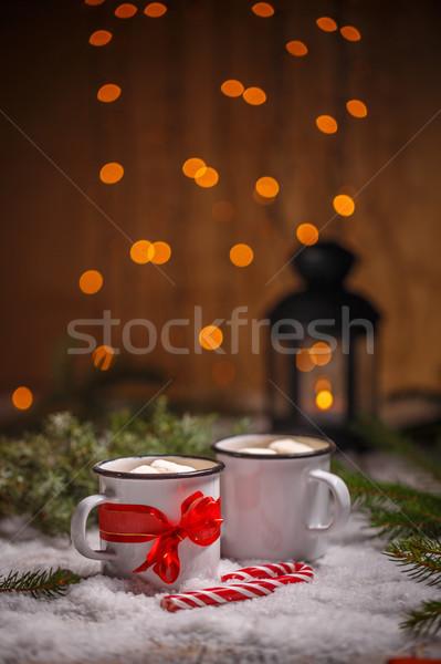Forró csokoládé karácsony stílus fény hó csokoládé Stock fotó © grafvision
