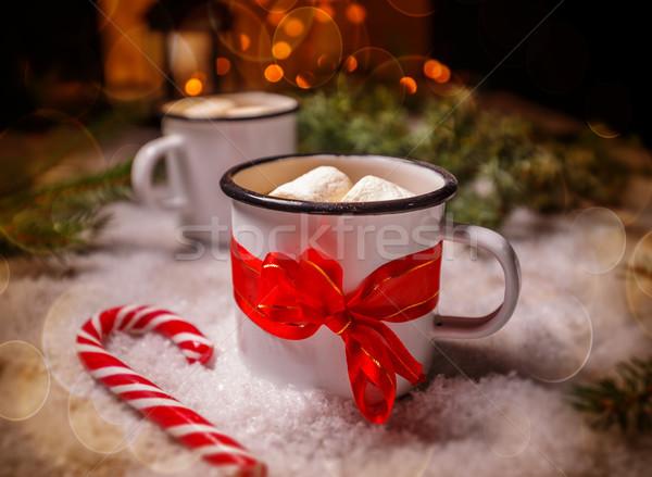 Fogzománc csésze forró cukorka sétapálca fény Stock fotó © grafvision