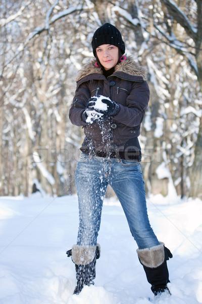 Menina jogar mulher jovem mulher mãos cara Foto stock © grafvision