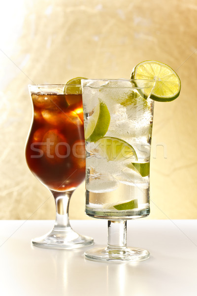 Votka kola cam buz içmek altın Stok fotoğraf © grafvision