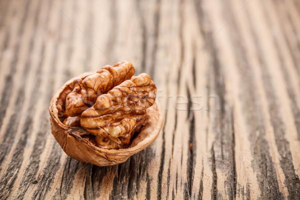 Rusztikus fából készült gyümölcs eszik mag tárgy Stock fotó © grafvision