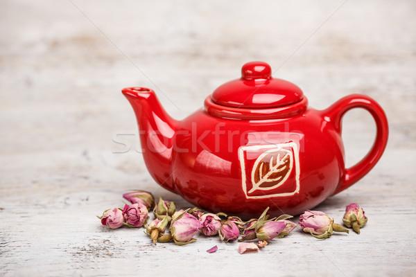 赤 ティーポット バラ つぼみ オブジェクト ストックフォト © grafvision