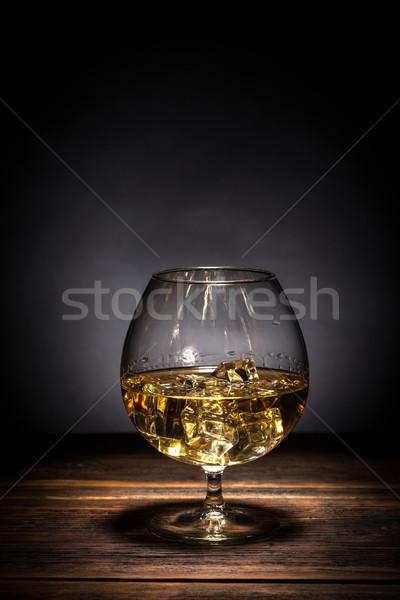 Cognac table en bois bois restaurant bar boire Photo stock © grafvision