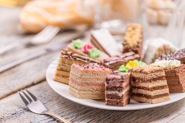 Mini kekler farklı krem taze yemek Stok fotoğraf © grafvision