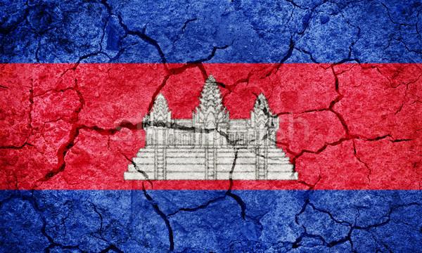 Reich Kambodscha Flagge trocken Erde Boden Stock foto © grafvision