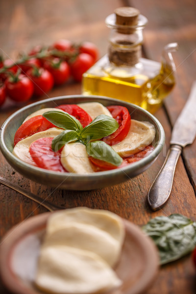 Taze İtalyan caprese salatası mozzarella domates gıda Stok fotoğraf © grafvision