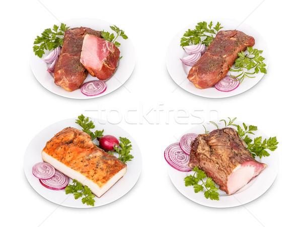 свинина мяса продукции белый фон ветчиной Сток-фото © grafvision