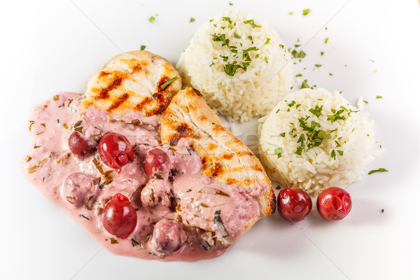 Pechuga de pollo arroz agrio cereza salsa Foto stock © grafvision