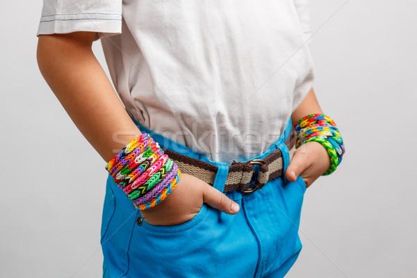 Kid hand mode kinderen oranje groene Stockfoto © grafvision