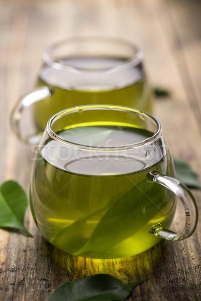 Chá verde vidro copo vintage tabela Foto stock © grafvision