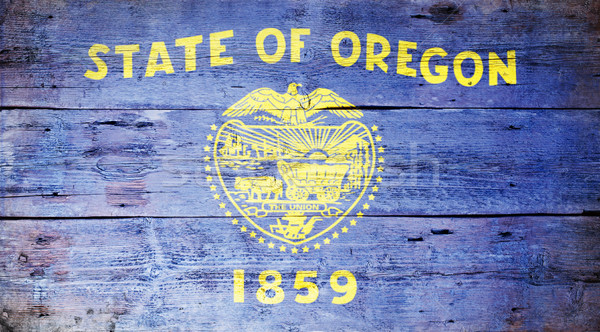 Vlag Oregon geschilderd houten textuur Stockfoto © grafvision