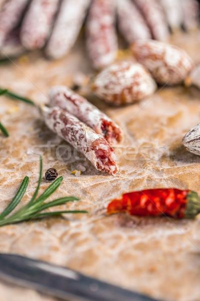 フランス語 サラミ 唐辛子 紙 肉 朝食 ストックフォト © grafvision