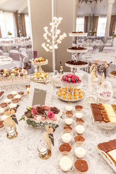 Delicioso dulce buffet macaron otro postres Foto stock © grafvision