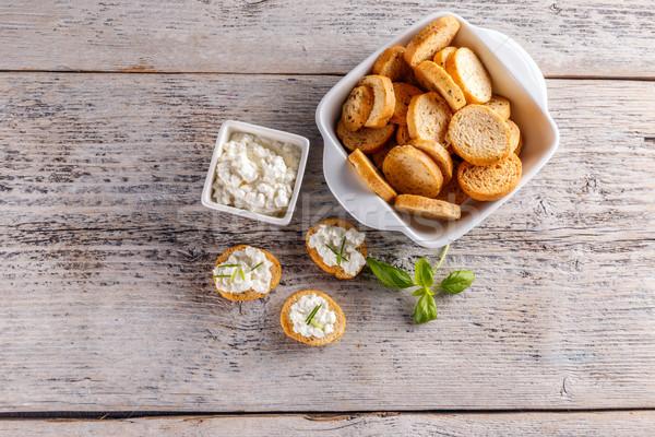 Bruschetta sandviç süzme peynir üst görmek gıda Stok fotoğraf © grafvision