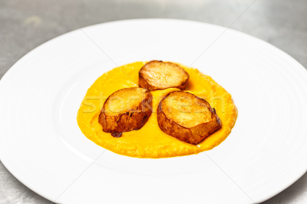 Foto stock: Comida · vegetariana · zanahoria · a · la · parrilla · papa · hortalizas · blanco