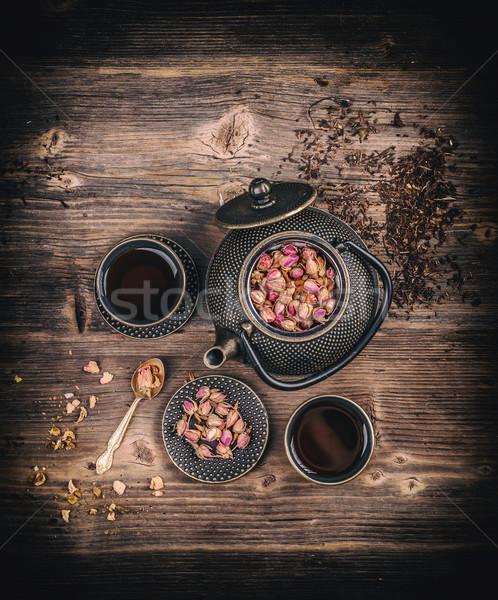Tea set on wooden desk Stock photo © grafvision