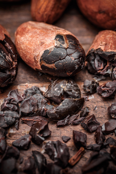 Cacao bonen oude houten voedsel achtergrond Stockfoto © grafvision