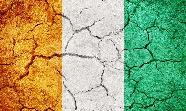 Republiek Ivoorkust vlag drogen aarde grond Stockfoto © grafvision