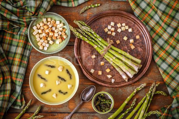сливочный спаржа суп Top мнение Vintage Сток-фото © grafvision