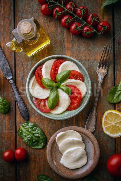здорового вегетарианский диета итальянской кухни салат Капрезе лист Сток-фото © grafvision