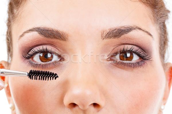 Vrouw mascara lang meisje Stockfoto © grafvision