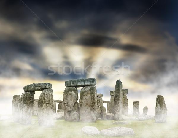 Stonehenge Fantasy sunrise dramatique ciel nuages Photo stock © grafvision