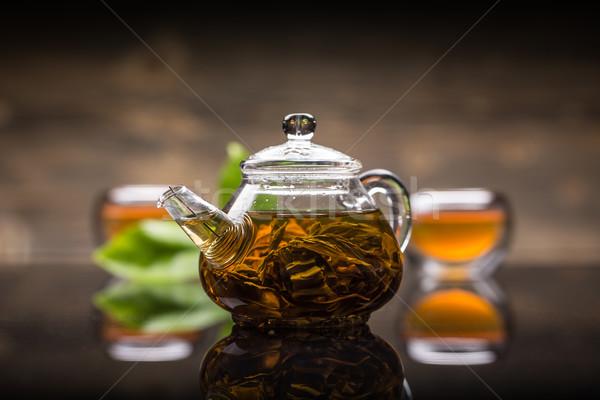 Glas theepot thee drinken vloeibare Stockfoto © grafvision
