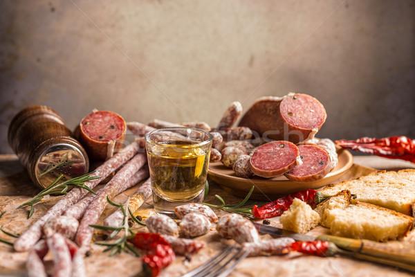 サラミ 異なる ヴィンテージ 唐辛子 素朴な 前菜 ストックフォト © grafvision
