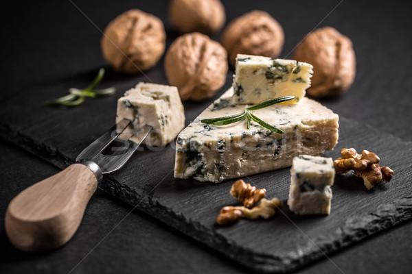 ブルーチーズ ナット 黒 食品 チーズ フォーク ストックフォト © grafvision