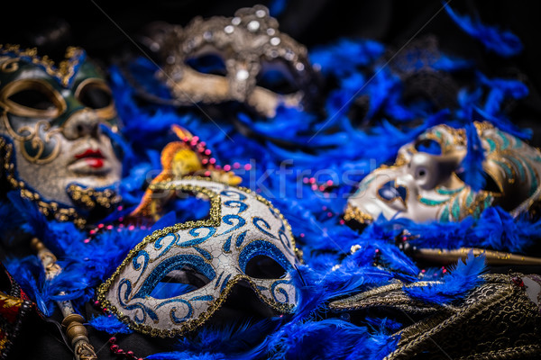 Homme carnaval masque bleu plumes fond Photo stock © grafvision