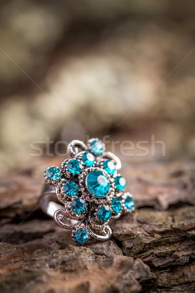 Gyűrű kicsi kék kövek közelkép üveg Stock fotó © grafvision