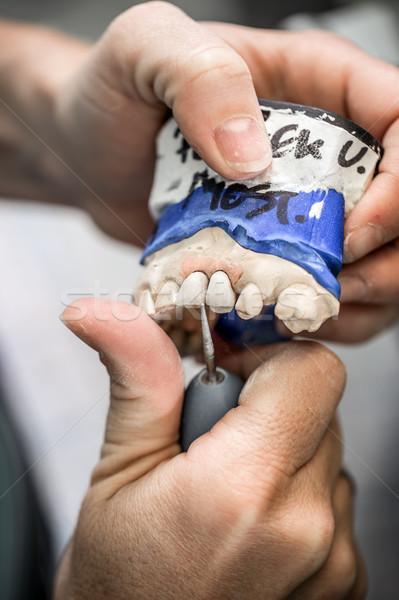 Techniker arbeiten Zahnersatz Tool Technologie Medizin Stock foto © grafvision