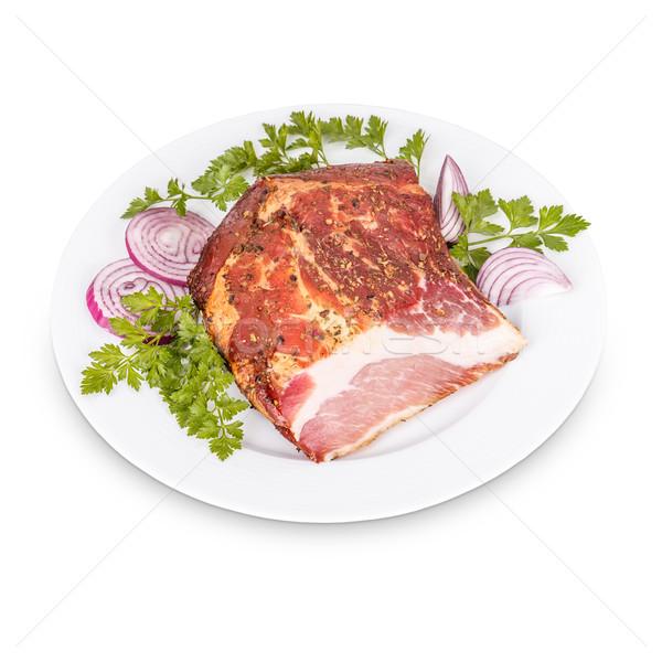 Gerookt varkensvlees vlees stuk witte plaat Stockfoto © grafvision