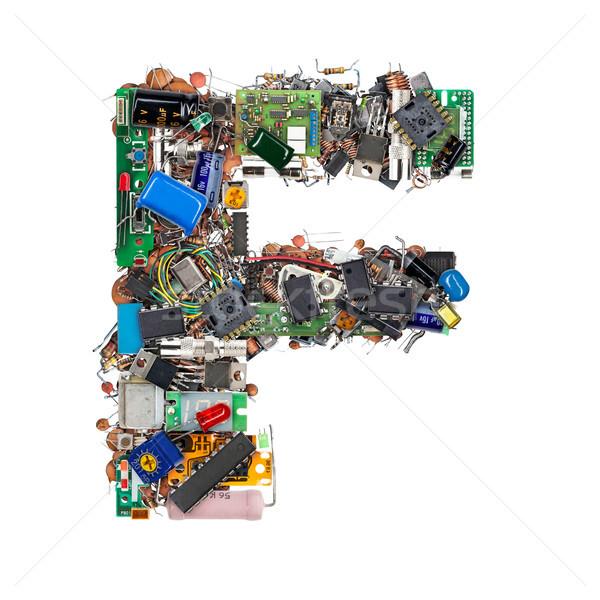 Letra f eletrônico componentes isolado branco tecnologia Foto stock © grafvision