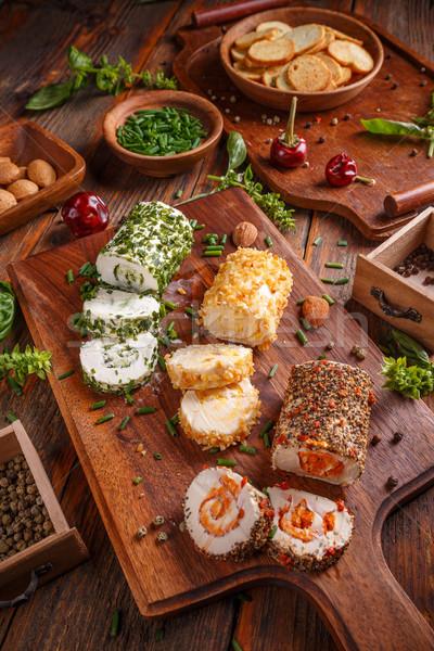 Mini formaggio antipasti coperto spezie verde Foto d'archivio © grafvision