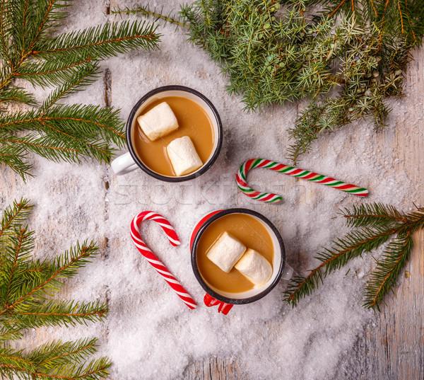 Sıcak çikolata üst görmek içmek şeker Stok fotoğraf © grafvision