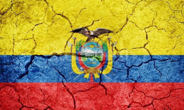 Republiek Ecuador vlag drogen aarde grond Stockfoto © grafvision