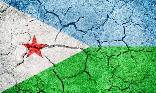 Republika Dżibuti banderą wyschnięcia ziemi ziemi Zdjęcia stock © grafvision