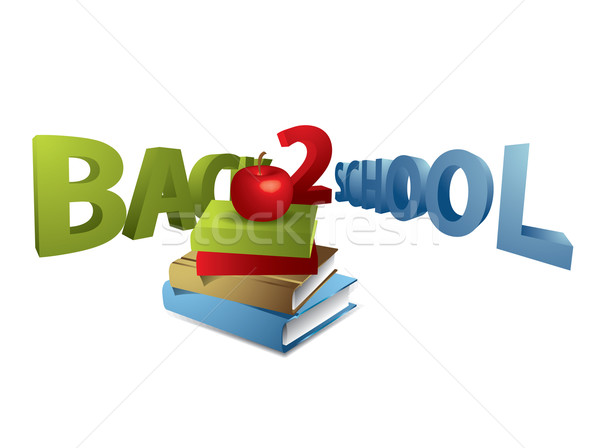 Stock photo: Back to school text with apple and books