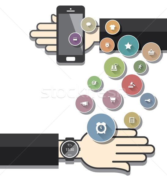 Smartwatch with Colorful Ecommerce Icons Stock photo © graphit