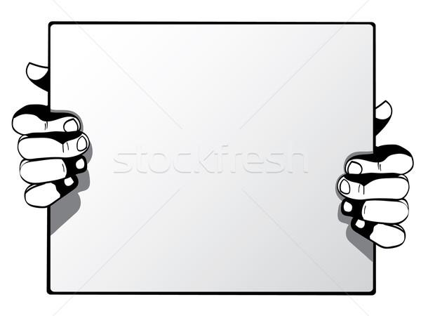 Umani mani pubblicità carta isolato Foto d'archivio © graphit