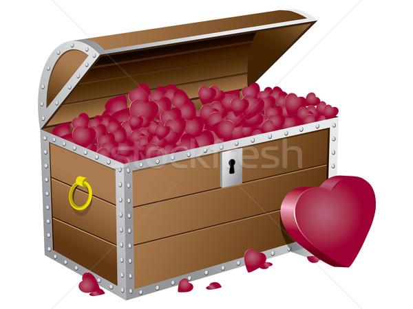 Valentine's day chest wiht hearts Stock photo © graphit