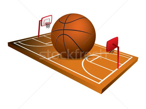 3D kosárlabda mező vektor fű sport Stock fotó © graphit
