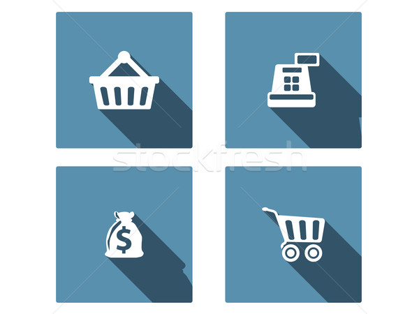 Stock photo: Shopping Flat Icons Set wit long shadow